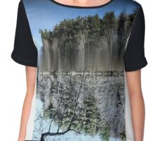 Abstract art depicting nature lakeside Chiffon Top