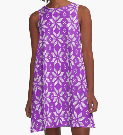 Knitted Snowflake Purple A-Line Dress