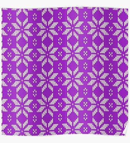 Knitted Snowflake Purple Poster