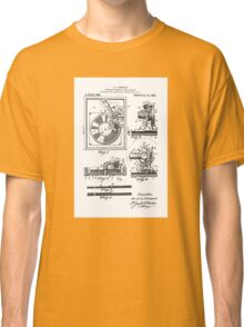 Retro Vintage Record Player Patent Drawing Diagram Classic T-Shirt