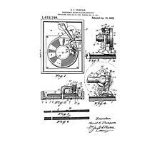 Retro Vintage Record Player Patent Drawing Diagram Photographic Print