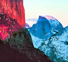 EL CAPITAN AND HALF DOME,SUNSET by Chuck Wickham