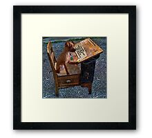 AS I WRITE MY THOUGHTS I WONDER WHY THEY..?? CANINE,DOG,chihuahua >>PICTURE.. Framed Print