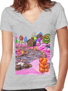 Pink Candyland Women's Fitted V-Neck T-Shirt