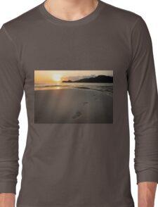 Human footprints on beach sand Long Sleeve T-Shirt