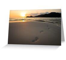 Human footprints on beach sand Greeting Card