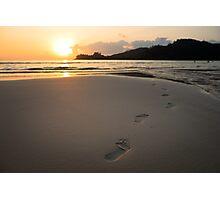 Human footprints on beach sand Photographic Print