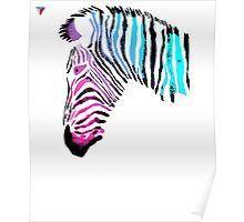 Neon Zebra Head Design T-Shirt by Cyrca Originals Poster