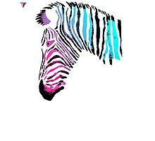 Neon Zebra Head Design T-Shirt by Cyrca Originals Photographic Print