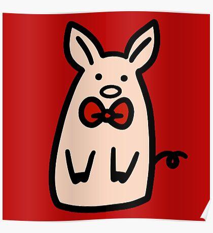 Bow Tie Piggy Poster