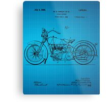 Motorcycle Patent 1925 - Blue Metal Print