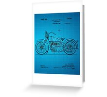 Motorcycle Patent 1925 - Blue Greeting Card