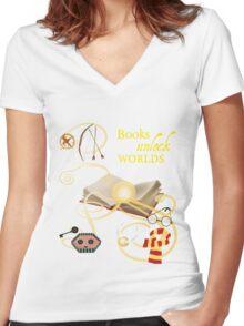 Books Unlock Worlds Women's Fitted V-Neck T-Shirt