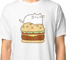 Cute Kawaii Cheeseburger Cat Classic T-Shirt