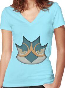 Decidueye face Women's Fitted V-Neck T-Shirt