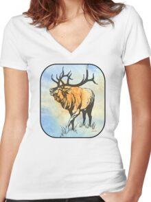 Bull Elk in the Roar Women's Fitted V-Neck T-Shirt