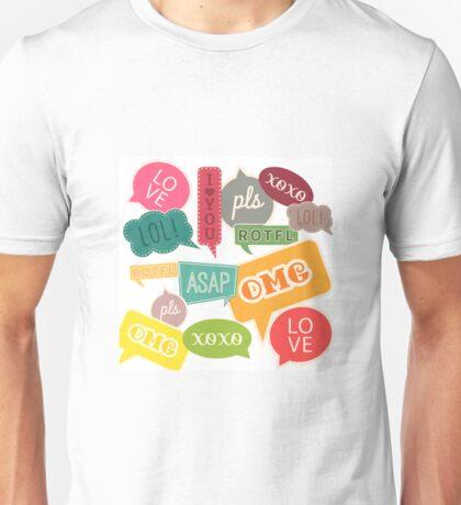 Teen Slang Conversation Bubbles Unisex T-Shirt