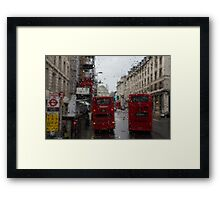 London - It's Raining Again But Riding the Double-Decker Buses is Fun! Framed Print