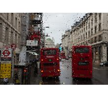 London - It's Raining Again But Riding the Double-Decker Buses is Fun! Photographic Print