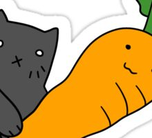 Cat with a Big Carrot Sticker
