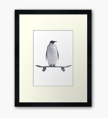 Penguin Skateboard Framed Print