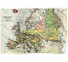 Old commercial map Europe 1865 - 1907 Poster