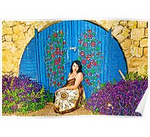 Girl and old painted gate.jpg Poster