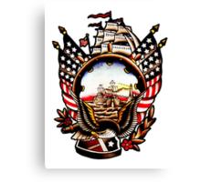 American Navy Ship Eagle Tattoo design Canvas Print