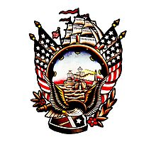 American Navy Ship Eagle Tattoo design Photographic Print