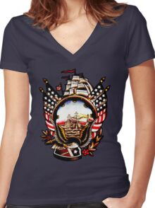 American Navy Ship Eagle Tattoo design Women's Fitted V-Neck T-Shirt