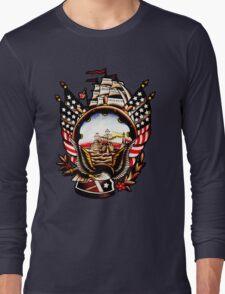American Navy Ship Eagle Tattoo design Long Sleeve T-Shirt