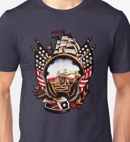 American Navy Ship Eagle Tattoo design Unisex T-Shirt