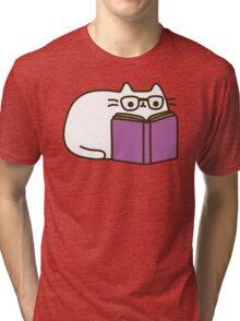 Cute Kawaii Nerd Cat Tri-blend T-Shirt