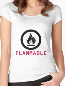 Flammable Warning Women's Fitted Scoop T-Shirt