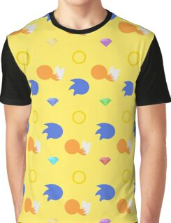 Sonic and Tails chaos emeralds (yellow) Graphic T-Shirt