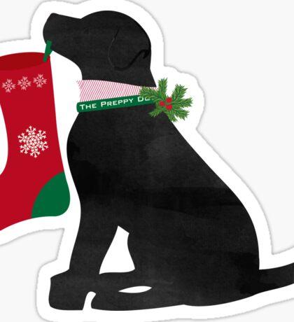 Black Lab Preppy Dog Christmas Sticker