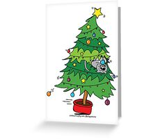 Christmas Holiday - Cat In Tree Card On White Greeting Card