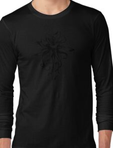 Columbine Flower black and white art sketch Long Sleeve T-Shirt