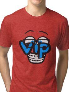 nerd geek hornbrille schlau intelligent lustig freunde team crew party feiern comic cartoon cool vip wichtig very importent person design  Tri-blend T-Shirt