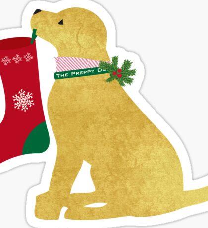 Golden Retriever Preppy Dog Christmas Sticker