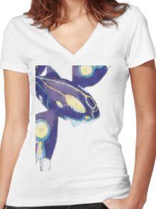 Primal Kyogre Women's Fitted V-Neck T-Shirt