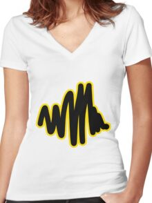 Squiggle | Black Women's Fitted V-Neck T-Shirt