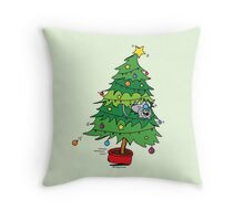 Christmas Holiday - Cat In Tree Throw Pillow