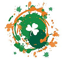 Cool Lucky Shamrock and Ink Background  Photographic Print
