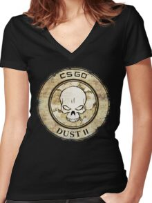 Counter Strike Dust II Women's Fitted V-Neck T-Shirt