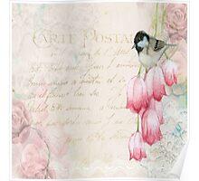 Vintage collage, flowers,bird,carte postal,text,parchment,vintage,old,rustic,modern,trendy Poster