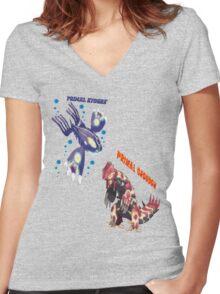Primal Groudon & Primal Kyogre Women's Fitted V-Neck T-Shirt
