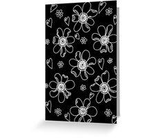 White on Black Blooming Greeting Card