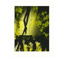 Yellow water color painted silver gelatin black and white print  of legs of female dancer analog film photo Art Print