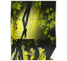 Yellow water color painted silver gelatin black and white print  of legs of female dancer analog film photo Poster